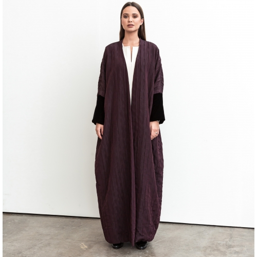 Burgundy and Black Velvet Abaya
