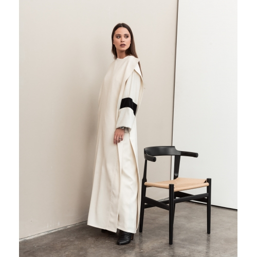 Ivory Front Cover Abaya