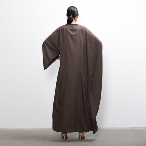 Hybrid Abaya in Brown Twill