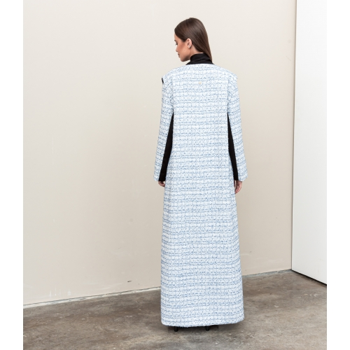 Light Blue and White Tweed Abaya