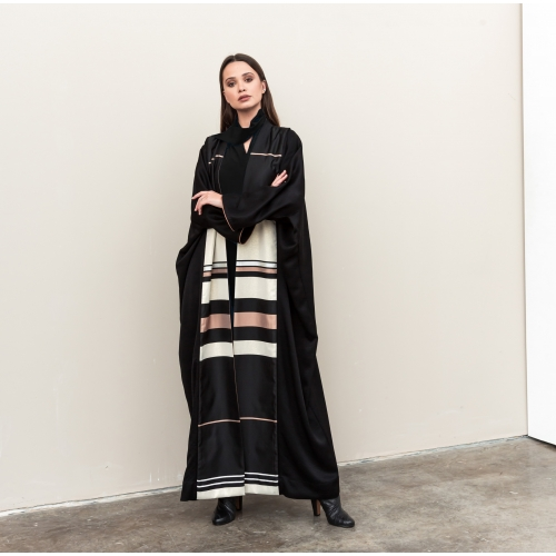 Luxury Stripe Black Abaya
