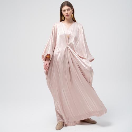 Soft Rose Satin Stripe Kaftan
