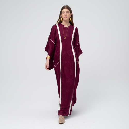 Burgundy Silk Pattern Kaftan