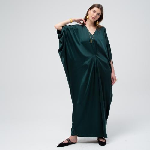 Emerald Green Satin Drape Kaftan