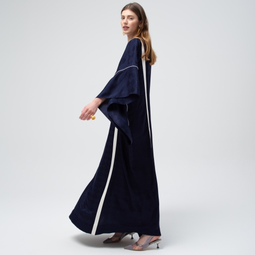 Navy Texture White Ribbon Kaftan