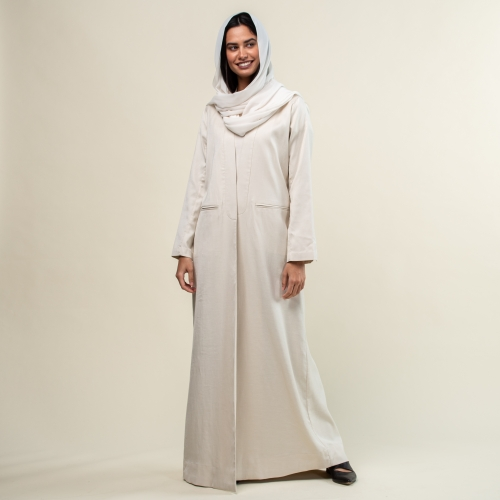 Ivory Linen Blend Structured Abaya