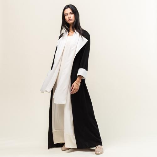 Black and White Collar Abaya