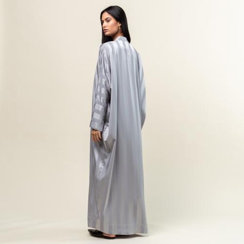 Light Gray Stripe Abaya