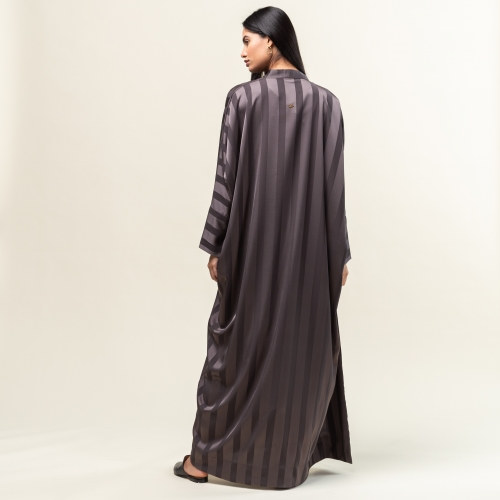 Dark Grey Stripe Abaya