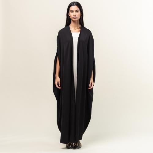 Black Woven Back Abaya