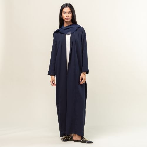 Navy Blue Abaya with Pipping