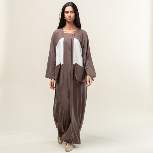 Brown with White Trench Abaya