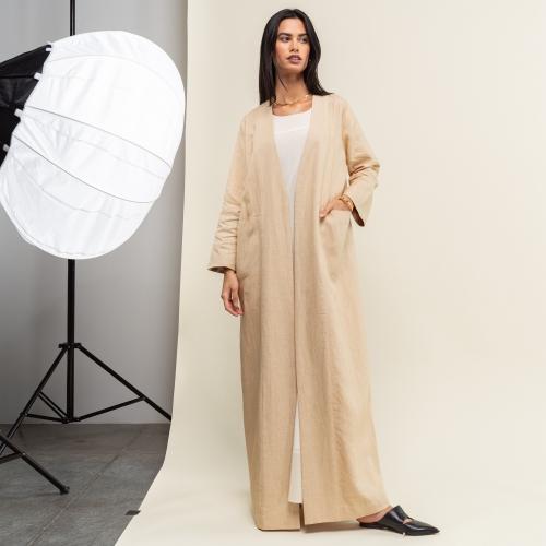 Golden Beige Linen Abaya