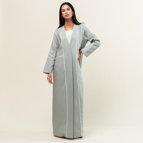 Light Green and White Linen Abaya