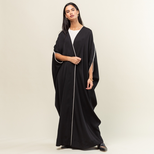 Woven Black Abaya with Ivory Silk Detailing