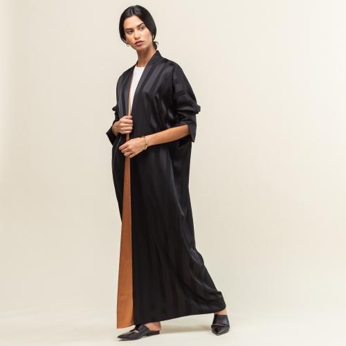 Black Satin Stripe Abaya