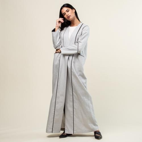 Gray Linen Structured Abaya