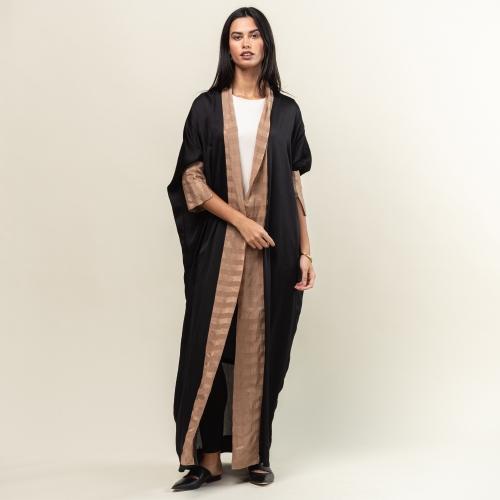 Brown Stripe Collar Abaya