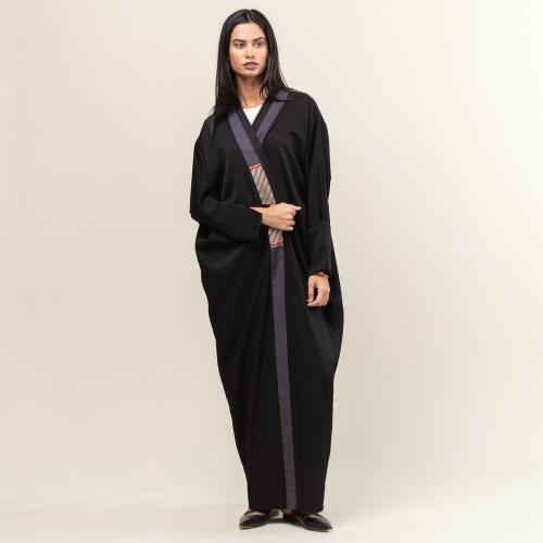 Premium Gray Stripe Abaya