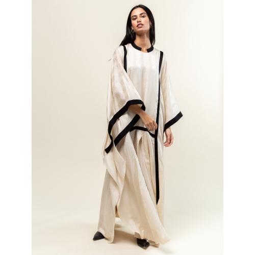 Ivory Silk-Cotton Kaftan
