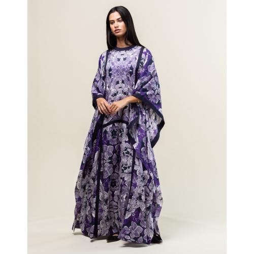 Purple Pattern Silk-Cotton Kaftan