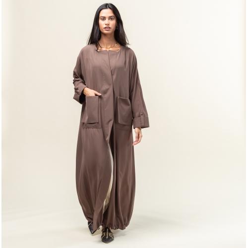 Khaki Brown Trench Abaya