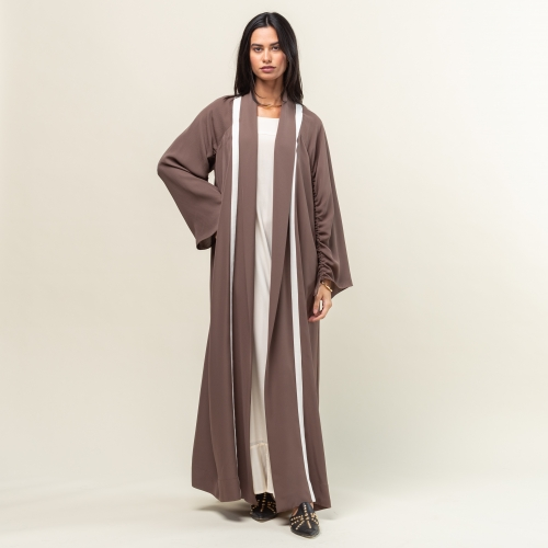 Brown with White Stripes Abaya