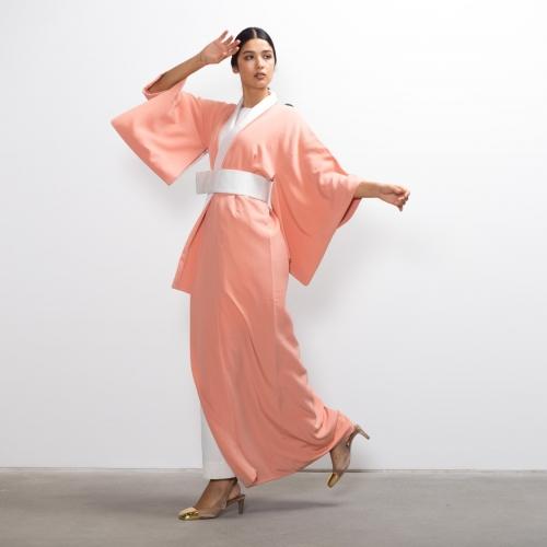 Pale Peach Silk Kimono